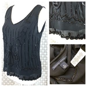 BANANA REPUBLIC 100% Silk Beaded Tank Black M EUC